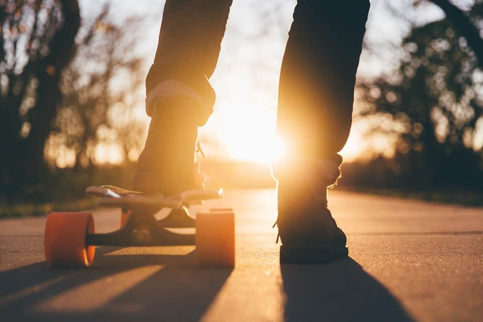 sunset and a skateboard