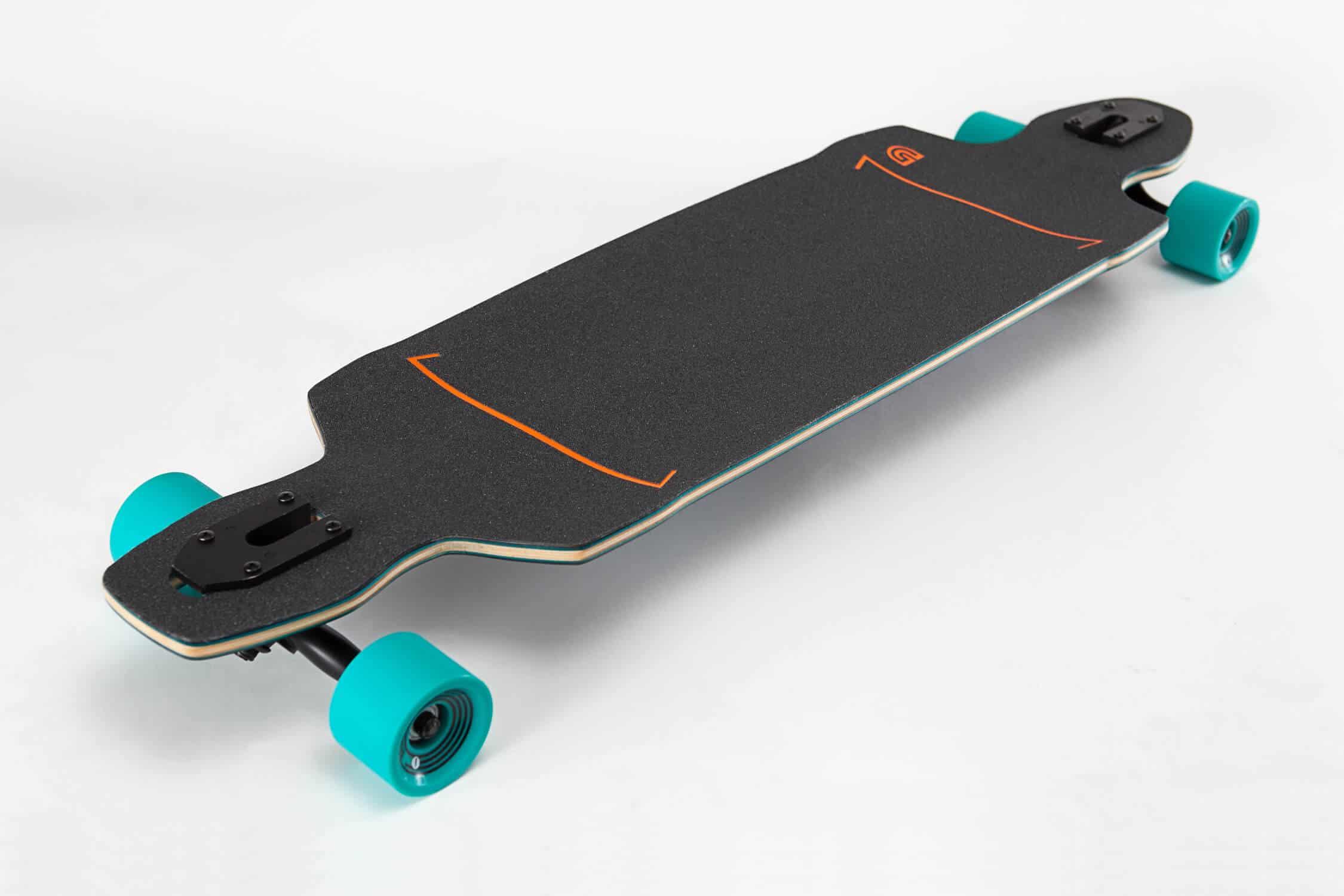 drop through lonboard with cyan wheels