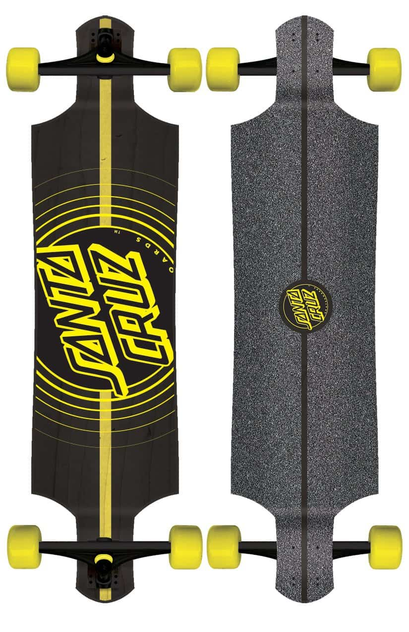 Santa Cruz Longboards with yellow wheels