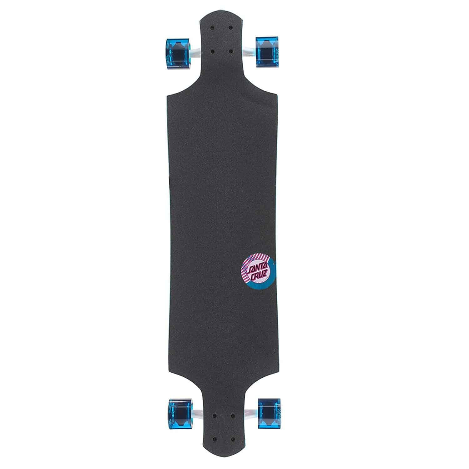 Santa Cruz Longboards with blue wheels