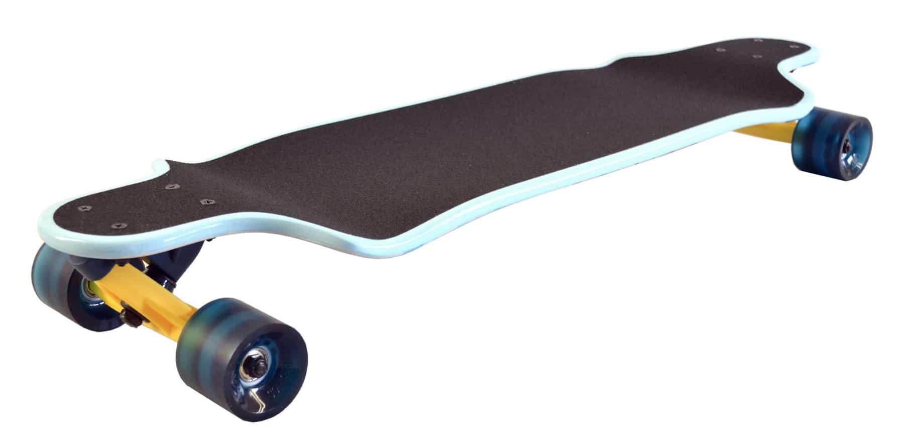 drop down longboard with black wheels