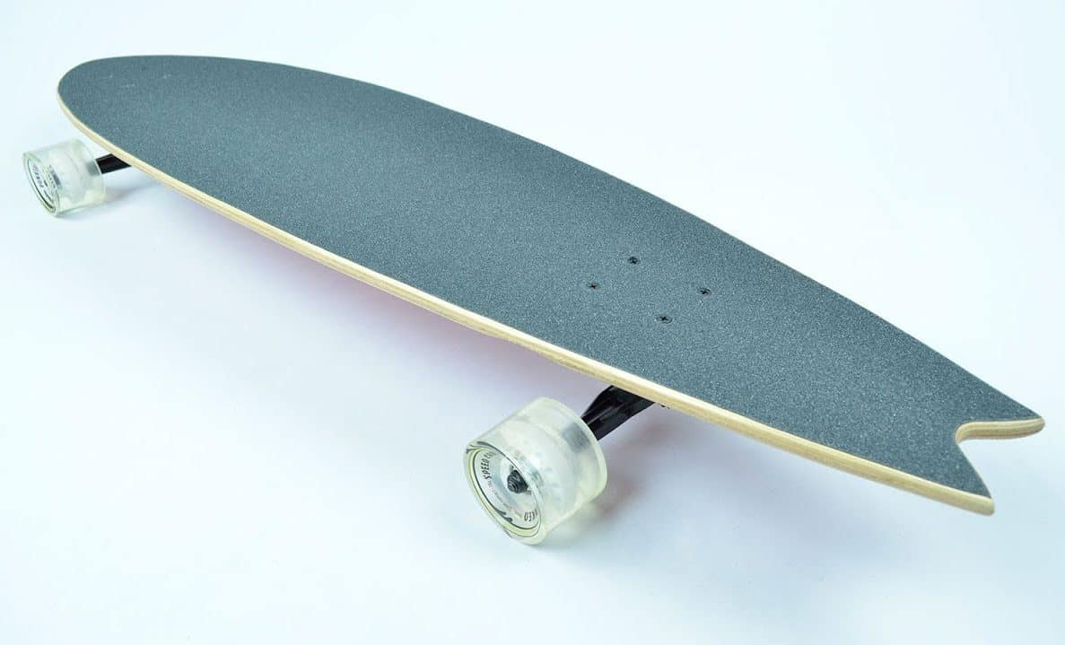 fish tail lonboard with transparent wheels